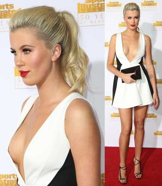 Ireland Baldwin baring her chest and legs in a Keepsake dress and a pair of Casadei strappy sandals at the 50th anniversary celebration of Sports Illustrated at Dolby Theatre in Beverly Hills on January 14, 2014