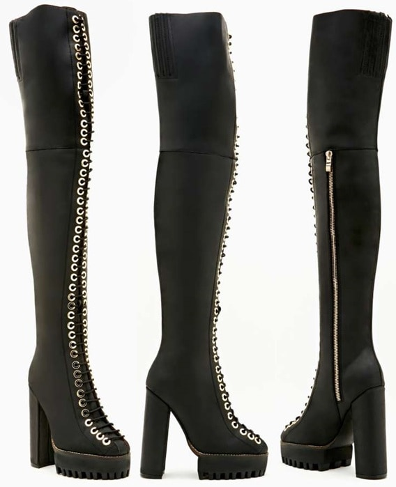 Jeffrey Campbell Thigh-High Lace-Up Boots