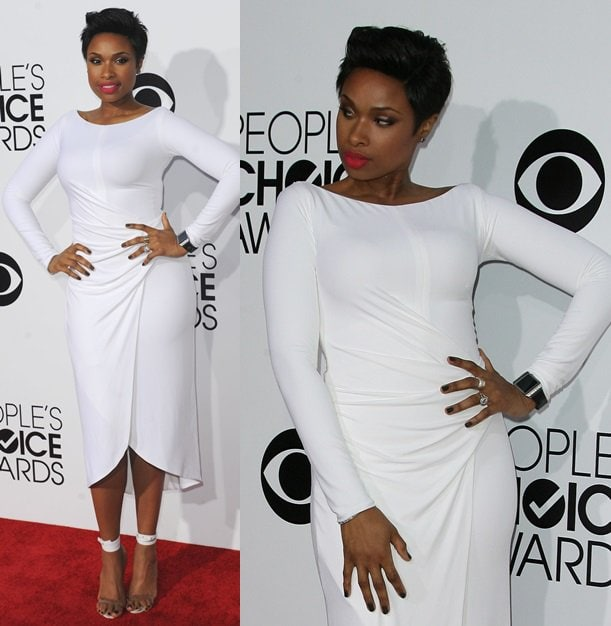 Jennifer Hudson flaunting her uber trim figure in a white Kaufman Franco dress at the 2014 People's Choice Awards held at the Nokia Theatre L.A. Live in Los Angeles on January 8, 2014
