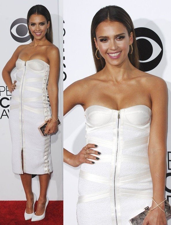 Jessica Alba looking white hot in a Jason Wu strapless corset dress at the 2014 People's Choice Awards held at the Nokia Theatre L.A. Live in Los Angeles on January 8, 2014