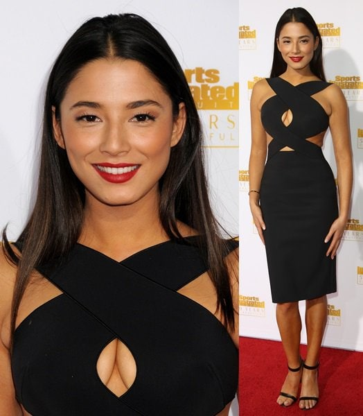 Jessica Gomes distracting the camera with her boob-window dress at the 50th anniversary celebration of Sports Illustrated at Dolby Theatre in Beverly Hills on January 14, 2014