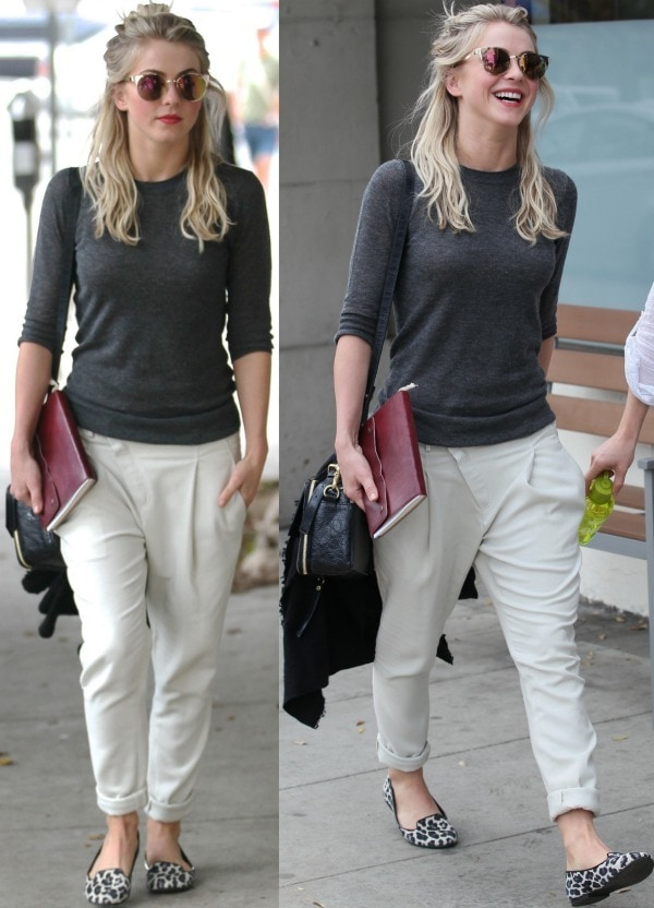 Julianne Hough wearing slouchy dropped-rise pants in West Hollywood, California, on January 21, 2014
