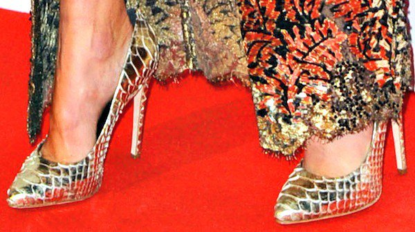 Karolina Kurkova wore a pair of gold python pumps to complete her fabulous look