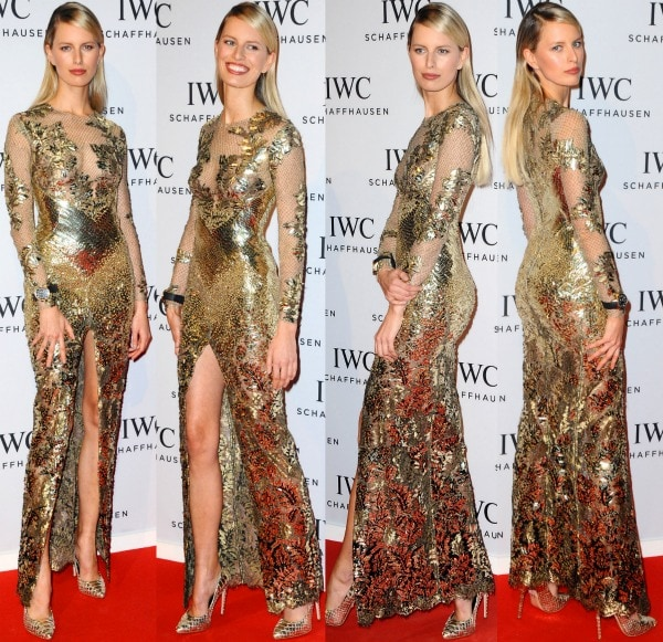 Karolina Kurkova graced the event with her stunning presence in a spectacular dress from Julien Macdonald's Fall 2013 collection