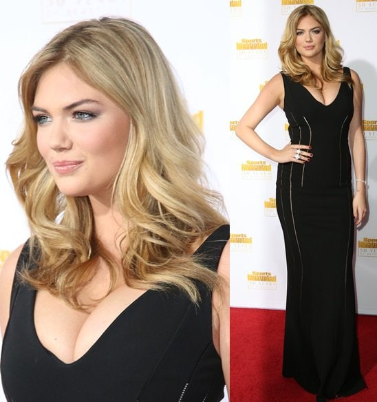Kate Upton showing off her assets in a low-cut V-neck dress from Antonio Berardi at the 50th anniversary celebration of Sports Illustrated at Dolby Theatre in Beverly Hills on January 14, 2014