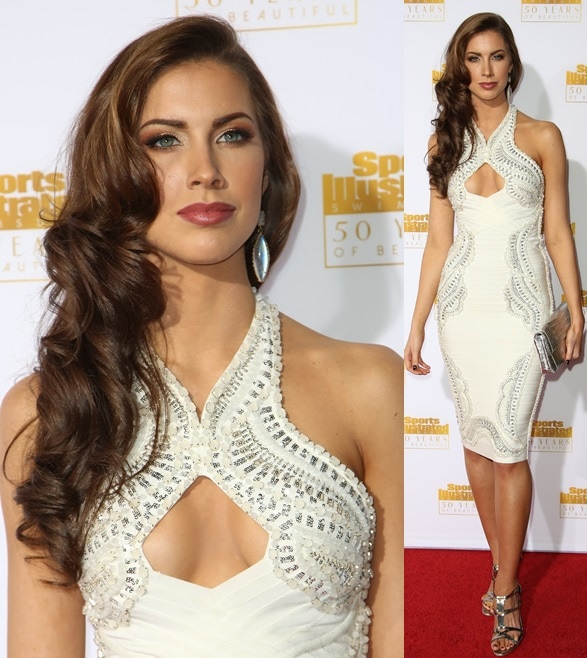 Katherine Webb wearing a beaded white frock for the occasion and capping it off with silver gladiator sandals at the 50th anniversary celebration of Sports Illustrated at Dolby Theatre in Beverly Hills on January 14, 2014