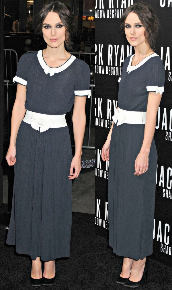 Keira Knightley in a lovely navy-and-white number from Chanel