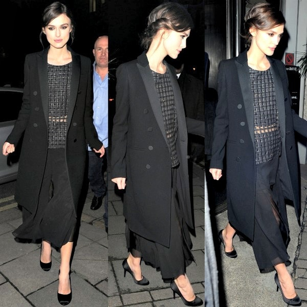 Keira Knightley in a woven black top from Theory over a crop top and a flowy skirt