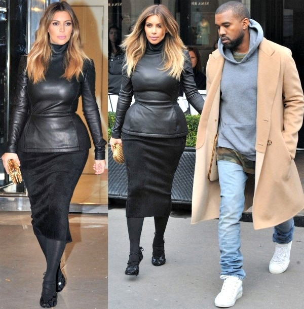 Kim Kardashian wears an all-black outfit while out in Paris with fiancé Kanye West