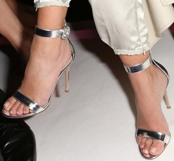 A closer look at Kim Kardashian's metallic ankle-strap sandals