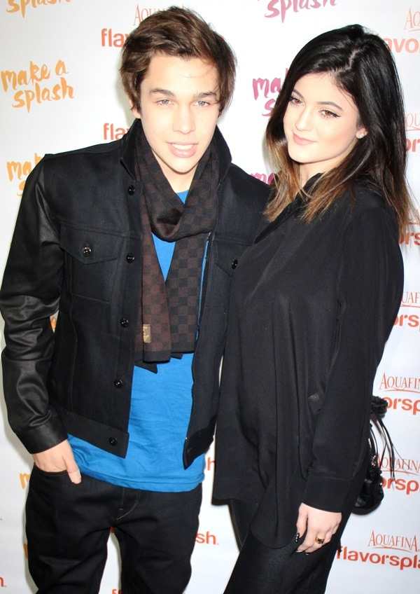 Austin Mahone and Kylie Jenner posing for the photographers at PepsiCo's Super Bowl celebration