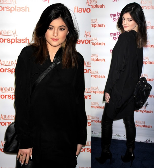 Kylie Jenner with a textured purse slung across her body