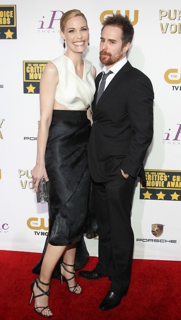 Leslie Bibb at the 2014 Critics' Choice Awards with partner Sam Rockwell