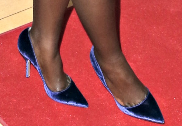 Lupita Nyong'o wearingdark purple Paul Andrew pumps