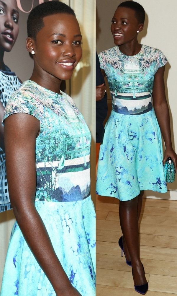 Lupita Nyong'o at DuJour magazine's Great Performances issue celebration and pre-Golden Globes party held at Herringbone, Mondrian LA, in Beverly Hills, California, on January 11, 2014