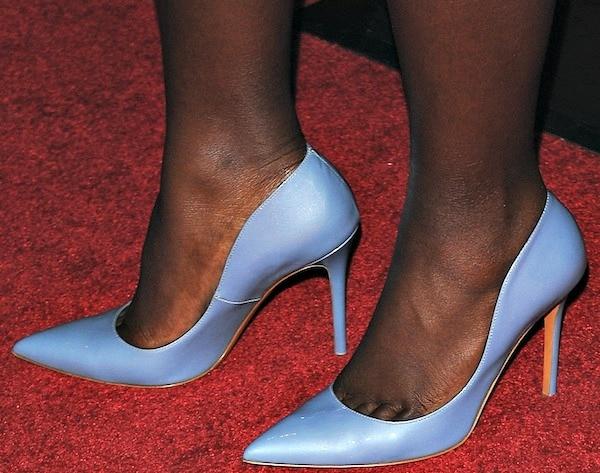 Lupita Nyong'o rockingfabulous lilac pumps from Bruno Magli