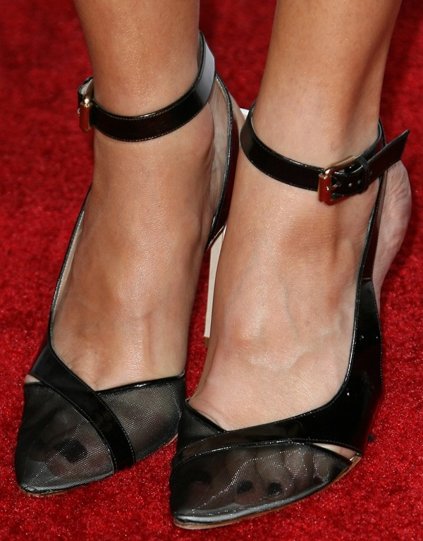 Malin Akerman showing off her feet in unusual mesh-detailed heels