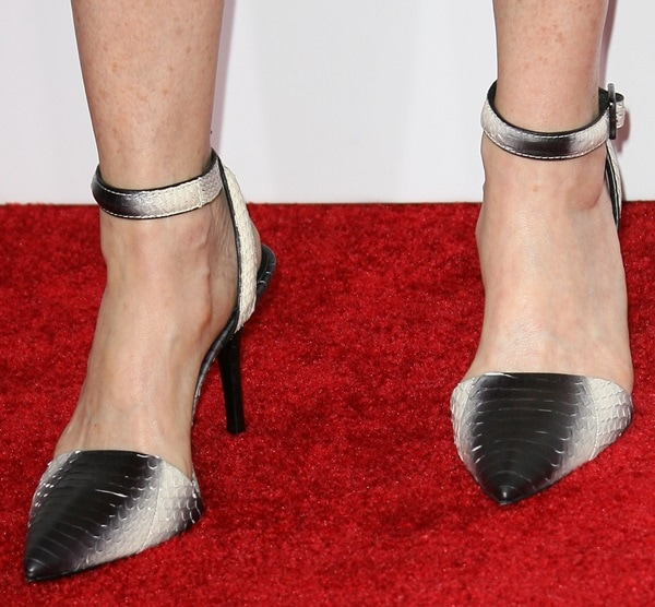 Marg Helgenberger's exotic snakeskin pumps from Alexander Wang