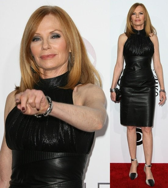 Marg Helgenberger rocking an all-leather look from Rubin Singer at the 2014 People's Choice Awards held at the Nokia Theatre L.A. Live in Los Angeles on January 8, 2014