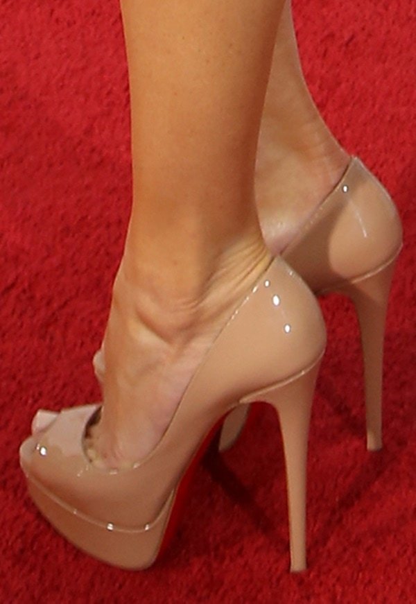 Marissa Miller wearing Christian Louboutin Lady Peep pumps in nude patent
