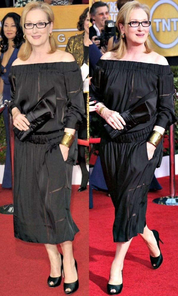 Meryl Streep in a black off-the-shoulder dress from Stella McCartney