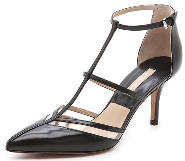 "Michael Kors ""Sahar"" T-Strap Pumps in Black"