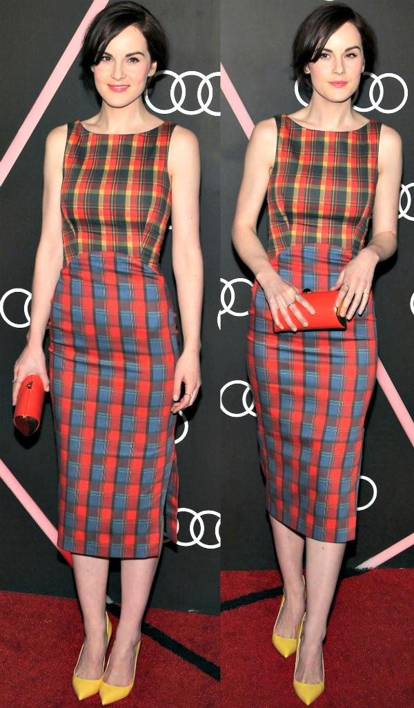 Michelle Dockery wearing a multicheck sleeveless sheath dress from Altuzarra's Pre-Fall 2014 collection