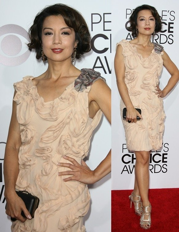 Ming Na in a cream ruffled dress at the 2014 People's Choice Awards held at the Nokia Theatre L.A. Live in Los Angeles on January 8, 2014