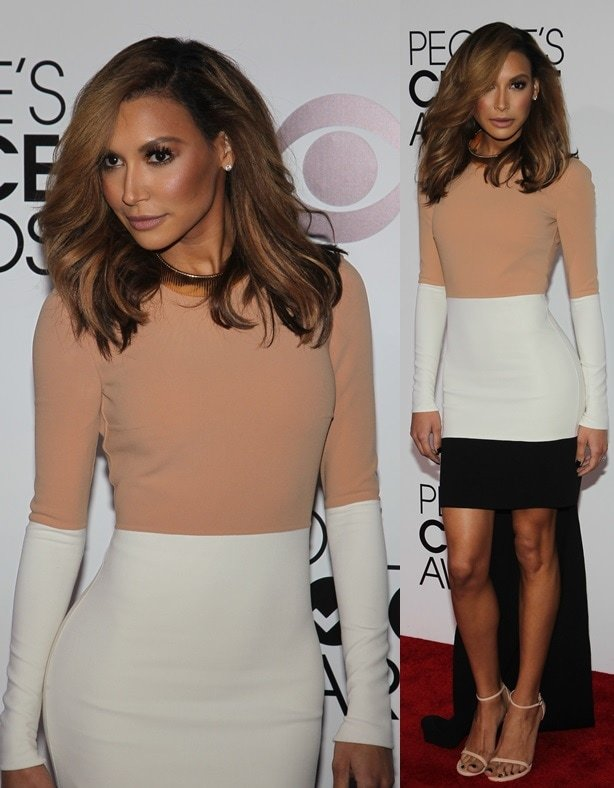 Naya Rivera is stunning in a color-blocked Michael Kors hi-low dress at the 2014 People's Choice Awards held at the Nokia Theatre L.A. Live in Los Angeles on January 8, 2014