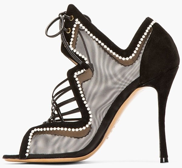 Nicholas Kirkwood Black Mesh and Pearl Lace-Up Heels