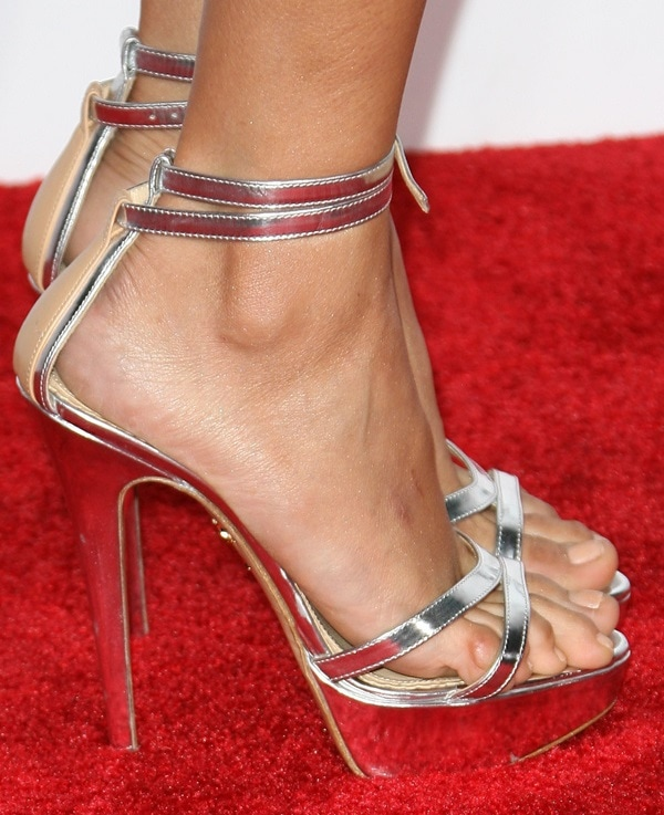 "Nina Dobrev's feet in silvery Charlotte Olympia ""Tokyo"" sandals"