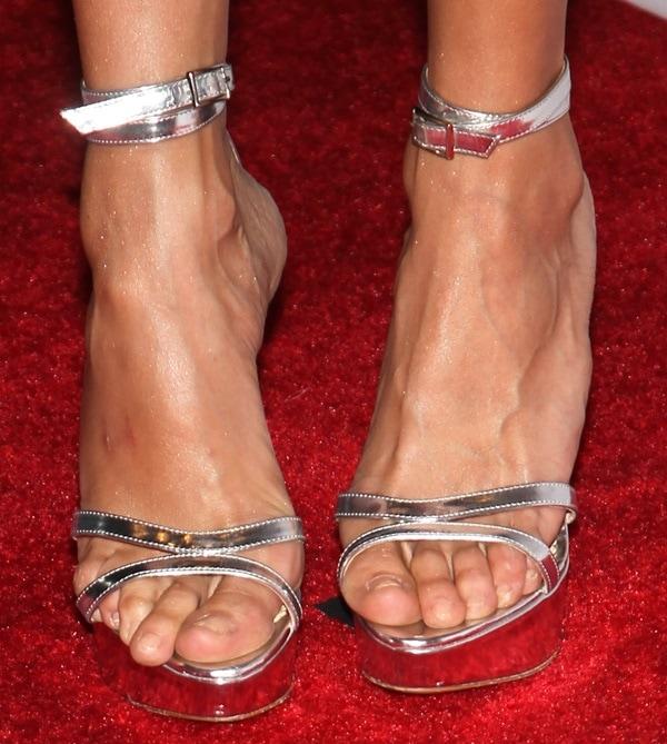 "Nina Dobrev's feet in silvery Charlotte Olympia ""Tokyo"" sandals"