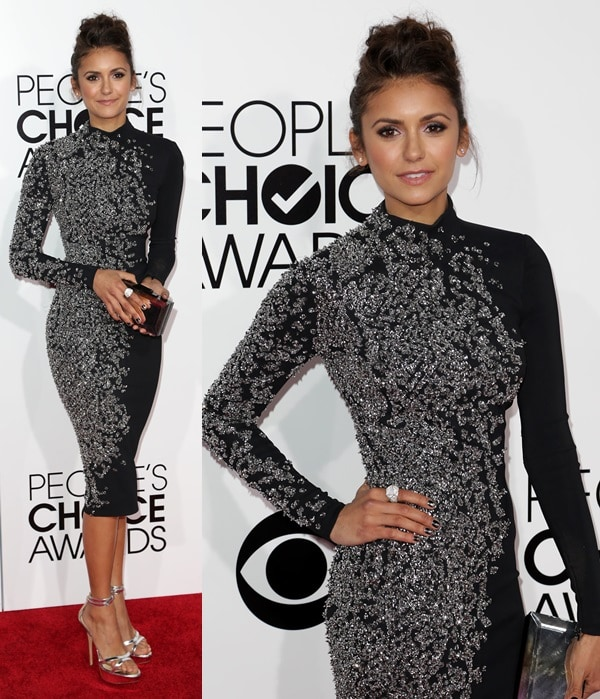 Nina Dobrev looking on point in a beaded Jenny Packham dress a the 2014 People's Choice Awards held at the Nokia Theatre L.A. Live in Los Angeles on January 8, 2014