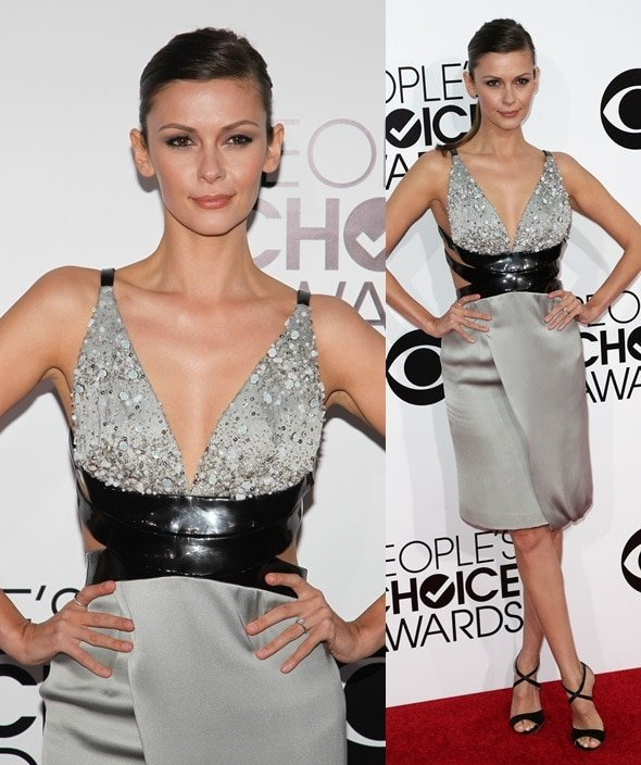 Olga Fonda keeping it sleek by going for a leather-trimmed gray beaded dress at the 2014 People's Choice Awards held at the Nokia Theatre L.A. Live in Los Angeles on January 8, 2014