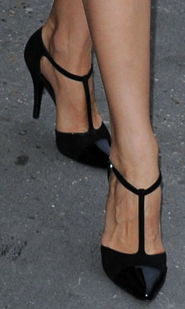 Olga Kurylenko in T-Strap Cap-Toe Pumps