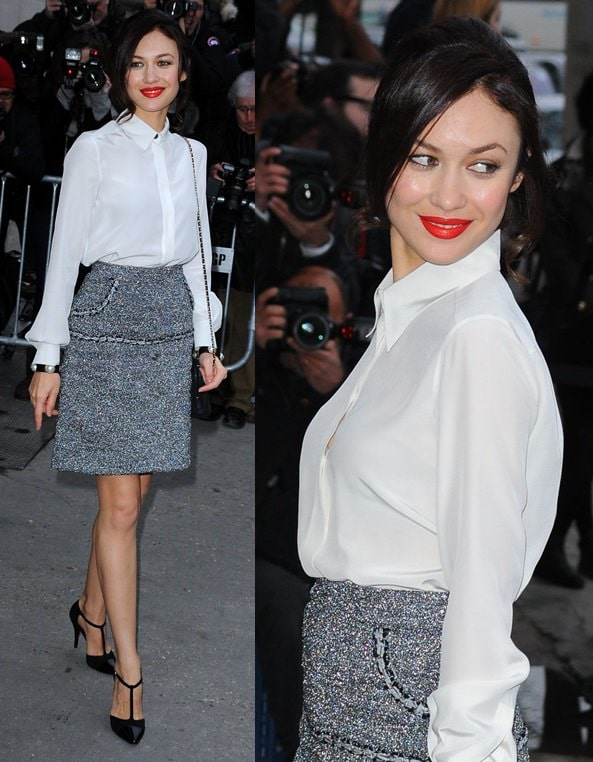 Olga Kurylenko attended the Chanel show in a rather conservative-looking getup finished with black pointy t-strap pumps