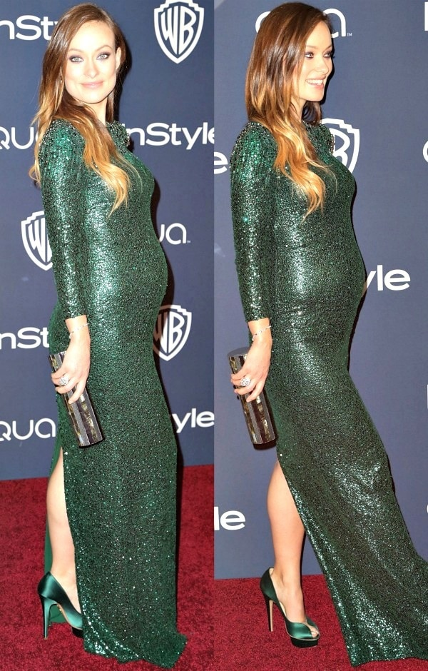 Olivia Wilde's figure-hugging dress features long sleeves, decadent emerald green silk, and a multitude of paillettes and crystals, which made her look even more dazzling on the red carpet