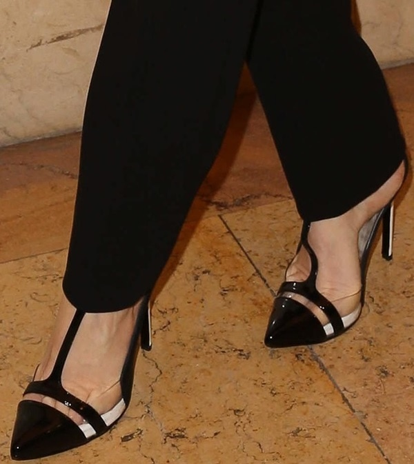 Paz Vega in Clear-Paneled T-Strap Pumps