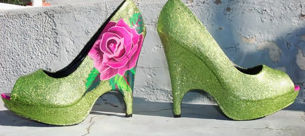pink rose and green shoes