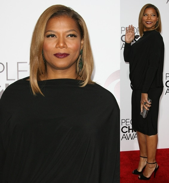 Queen Latifah keeping it simple and classy by wearing a drop-waisted LBD at the 2014 People's Choice Awards held at the Nokia Theatre L.A. Live in Los Angeles on January 8, 2014