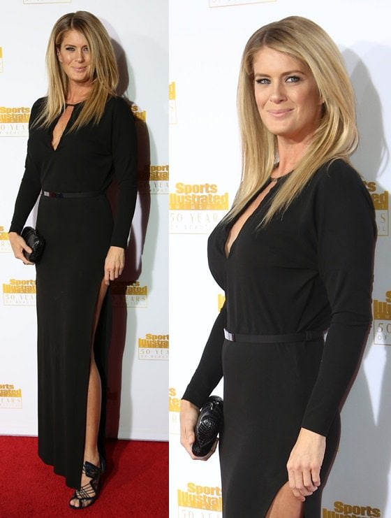 Rachel Hunter looking elegant in a long black gown and Nicholas Kirkwood heels at the 50th anniversary celebration of Sports Illustrated at Dolby Theatre in Beverly Hills on January 14, 2014