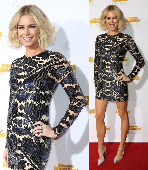 Rebecca Romijn dazzling in a sequined frock and metallic pointy-toe pumps at the 50th anniversary celebration of Sports Illustrated at Dolby Theatre in Beverly Hills on January 14, 2014