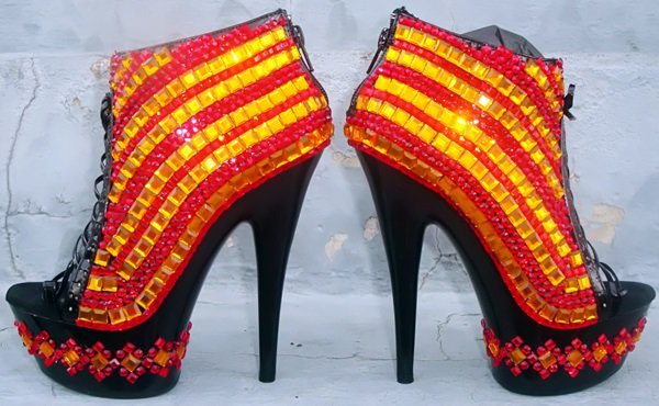 red and yellow fire shoes