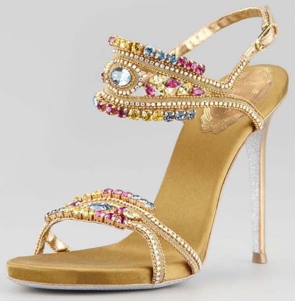 rene caovilla crystal embellished ankle band sandals