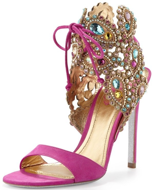 rene caovilla crystal embellished ankle tie jeweled sandals