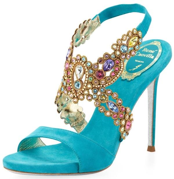 Rene Caovilla Jeweled Crisscross Sandals