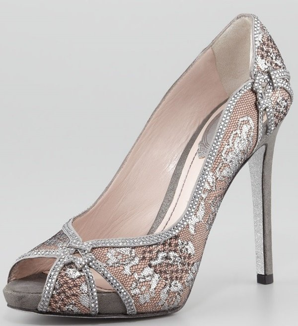 Rene Caovilla Crystal-Trim Lace Platform Pumps