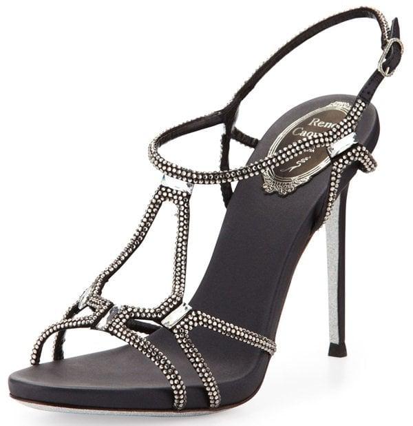 Rene Caovilla Crystal-Embellished Slingback Sandals