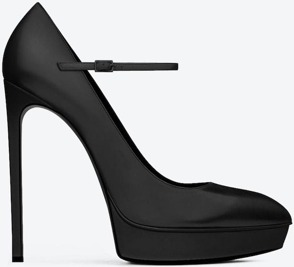 "Saint Laurent Classic ""Janis"" Mary Jane Escarpin Pumps in Black Leather"