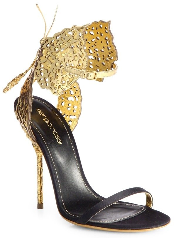 Sergio Rossi Filigree Butterfly Laser-Cut Leather-and-Satin Sandals